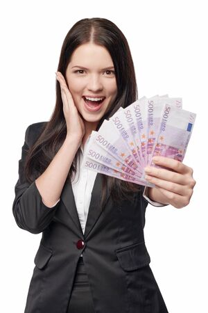 outstretching: Excited surprised business woman giving you euro money, over white background