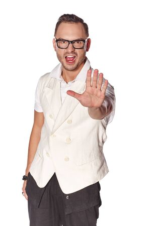 expressive: Expressive dude man pointing at camera, over white background Stock Photo