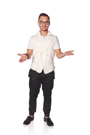 Full length of a young casual man welcoming everyone with his arms wide open and smile, isolated on white background