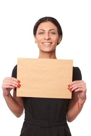 addressee: Smiling business woman showing envelope over white background