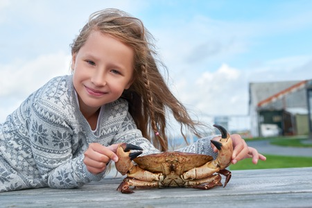 cangrejo: Niña que sostiene la vida de cangrejo noruego marrón, Cancer pagurus, buey de mar, cangrejo Tourteau apoyado en la mesa, al aire libre Foto de archivo