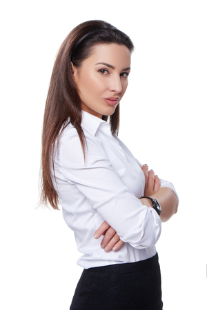 woman white shirt: Successful business woman looking confident and smiling over white background
