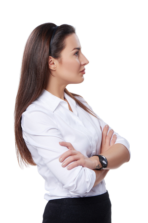 profile: Side view of a buccessful business woman looking forward at blank copy space, over white background