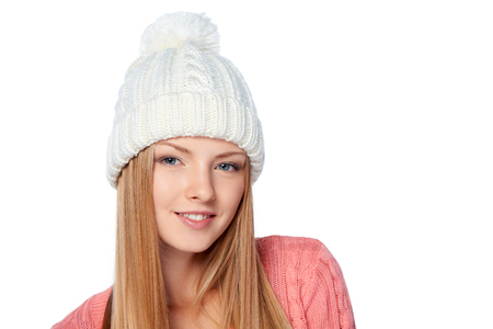 warm clothing: Christmas girl, Closeup portrait of young beautiful smiling woman wearing warm winter clothing, over white background