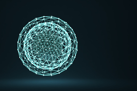 grids: 3D rendering of glowing polygonal sphere with connected lines and dots over white background Stock Photo