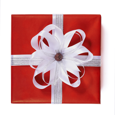 red gift box: Red gift box with white ribbon bow, isolated on white, top view