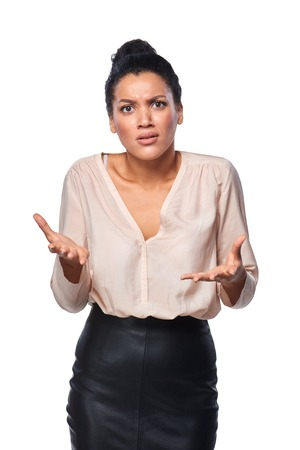 distraught: Business woman shrugging her shoulders in anger and frustration, isolated on white background Stock Photo