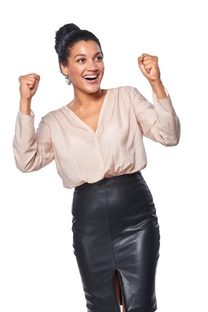 arms up: Excited business woman celebrating success, isolated on white background