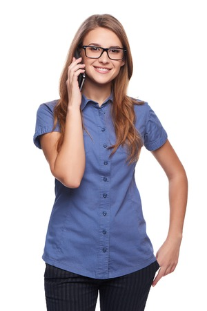 phone isolated: Beautiful woman talking at cell phone, isolated over white background