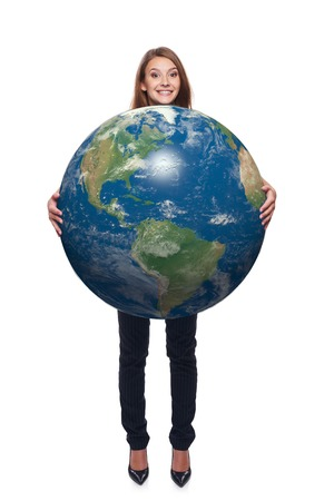 continente americano: Happy beautiful woman in full length holding earth globe in her hands, American continent in front, over white background