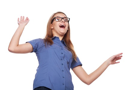 raised hands: Funny image of smiling surprised woman with raised hands recoiling in reaction