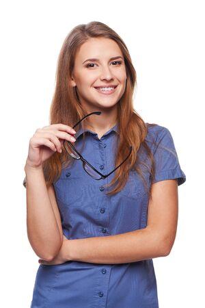 Portrait de succès femme confiante d'affaires souriant tenant ses lunettes Banque d'images