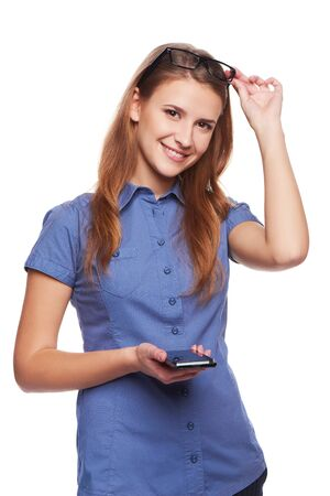 laugher: Happy woman holding cell phone, isolated over white background