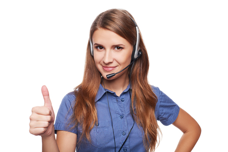 camera operator: Support phone operator in headset smiling looking at camera and giving approving sign, isolated on white
