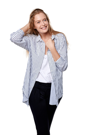 laugher: Happy smiling woman looking sideways isolated on white background. Stock Photo