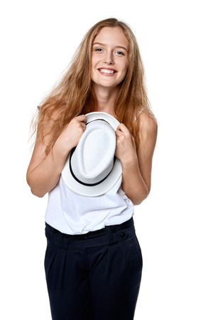 laugher: Happy excited woman with straw hat smiling at camera Stock Photo