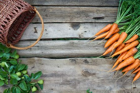 food basket: Top view, flat lay bunch of fresh carrots with green leaves, empty wicker basket and branch of green pears over rustic weathered wooden background with copy space