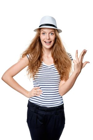 fedora: Hand counting - four fingers. Happy summer woman in straw fedora hat showing four fingers Stock Photo