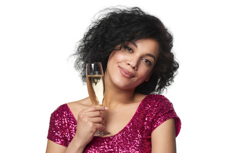 sequined: Party, drinks, holidays and celebration concept. Closeup smiling glamourous woman in sequined dress with glass of champagne looking at camera