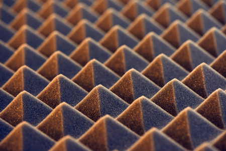 Macro of acoustic foam panel background, toned image Banco de Imagens