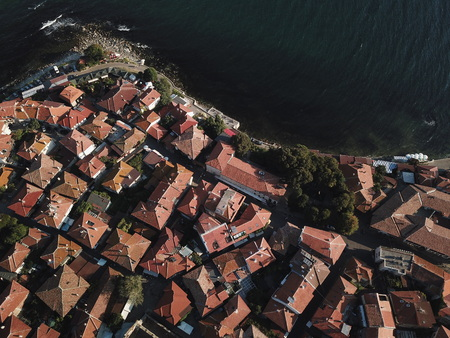 Aerial view of the tile roofs of old ancient city, Nessebar on the Black Sea coast of Bulgaria.