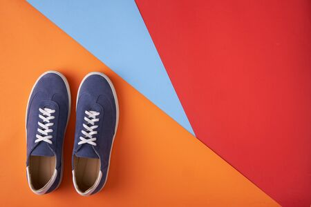 Couple of casual unisex suede sneakers standing on multicolored background, flat lay style 版權商用圖片