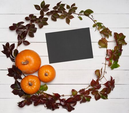 Autumn card. Red leaves and orange pumpkins creating a round wreath on white wooden planks with black paper sheet in the scenter