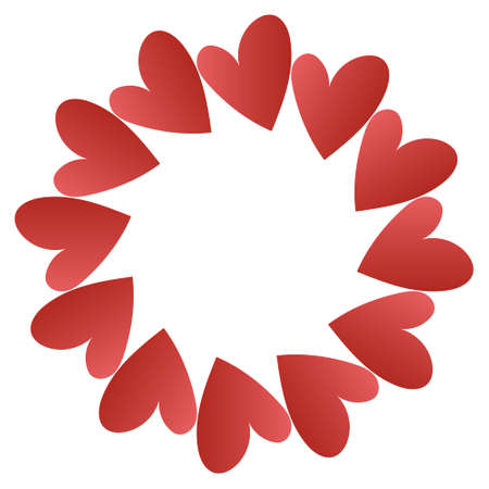 Radial frame of hearts with blank copy space in center, vector illustration