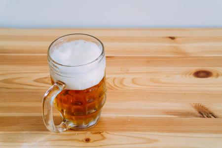 Beer on the wooden floor