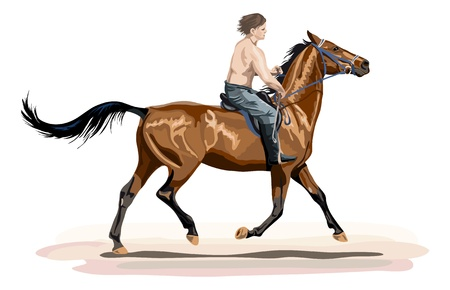 young man riding on glossy horse Stock Illustratie