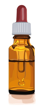 bruin glas fles voor geneeskunde met druppelaar Stock Illustratie