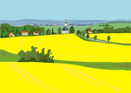 veld in mei, en dorp met kerk in de versie van de huizen kunnen verwijderd Stock Illustratie