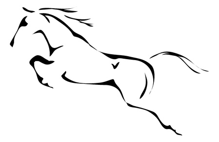 horses in the wild: black and white outlines of jumping horse Illustration