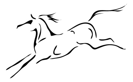 black and white outlines of horse Vector