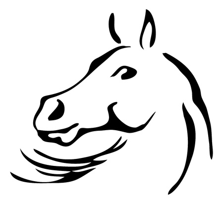animal head: black and white outlines of horse Illustration