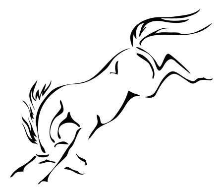 bucking horse: black and white outlines of bucking horse