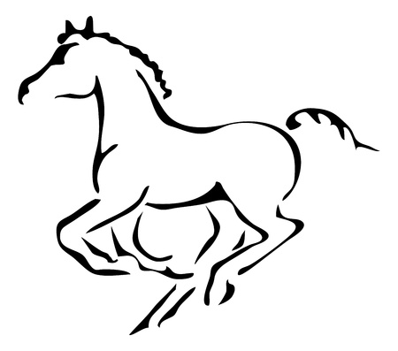 black and white outlines of galloping foal