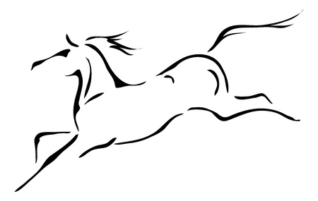 black horses: black and white outlines of horse Illustration