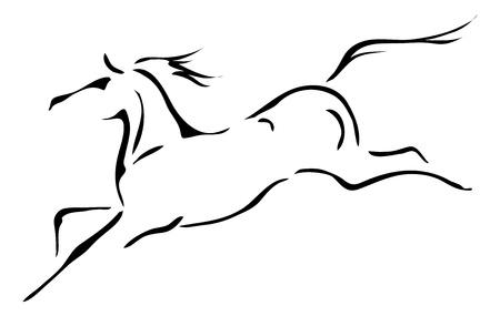 arabian horse: black and white outlines of horse Illustration
