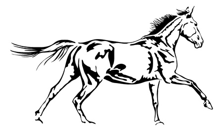 galloping horse in black and white outline