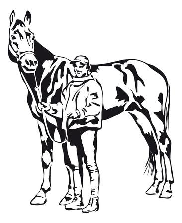 trotse jonge vrouw met haar paard Stock Illustratie