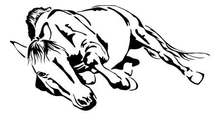 zwarte en witte contouren van rollende paard Stock Illustratie