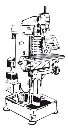 cnc: conventional milling machine with control panel Illustration