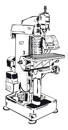 fresadora convencional con panel de control Ilustración de vector