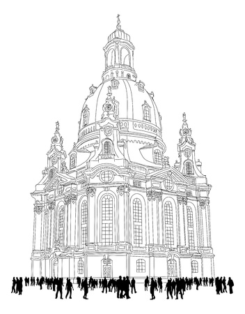 dresden: church of our lady - Dresden, Germany  Sketch of the famous church with tourists
