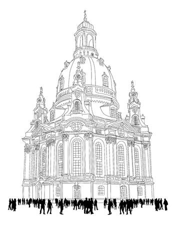 kerk van Onze Lieve Vrouw - Dresden, Duitsland Schets van de beroemde kerk met toeristen