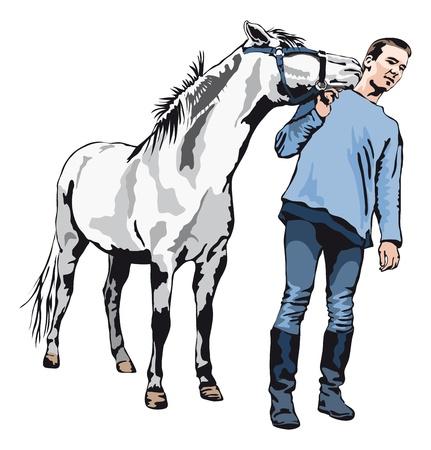 horse like: I like you - Pony kissing a young man Illustration