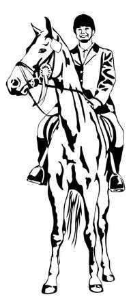 pround meisje op toernooi paard