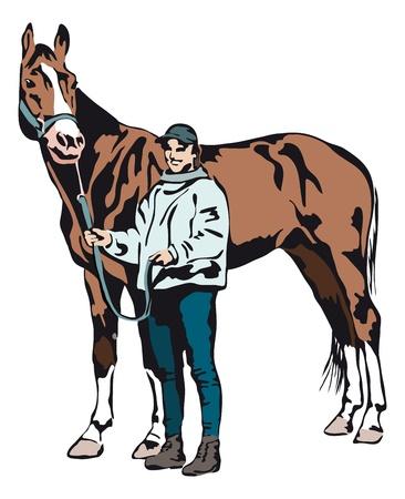 trots jong meisje met haar paard Stock Illustratie
