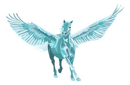 pegaso: azul pegaso caballo al galope con las alas abiertas Vectores